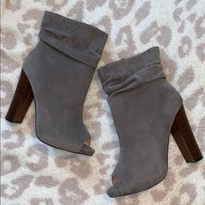Taupe Faux Suede Peep Toe Booties